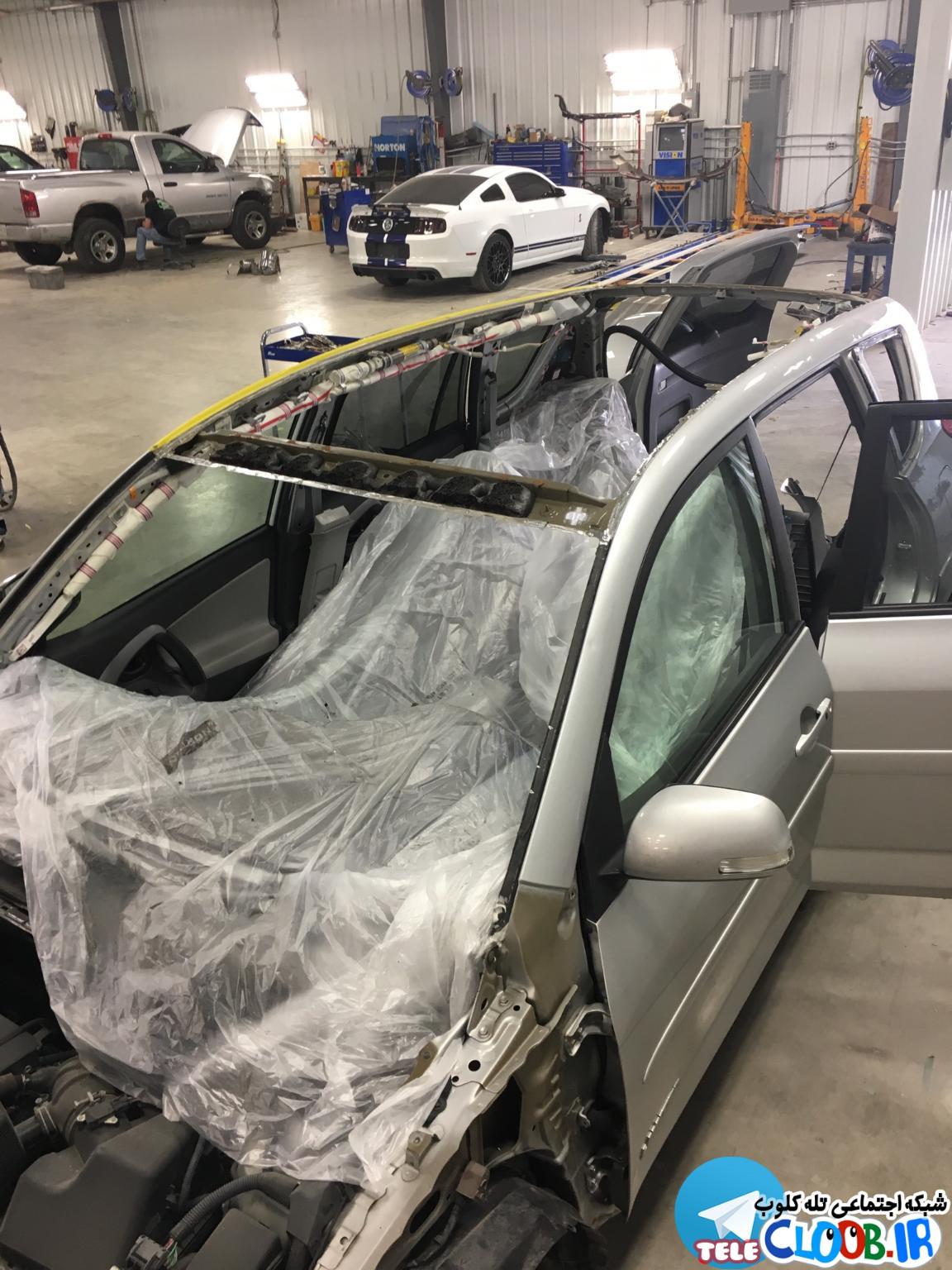 قسمتی از سقف خودرو که نیاز به تعمیر دارد